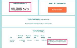 Zahlung im Dashboard bestätigt