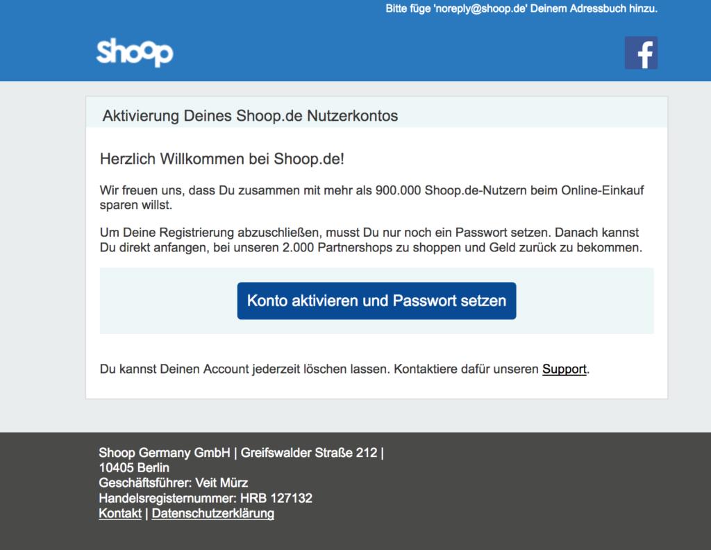 Email von Shoop.de zur Kontoaktivierung