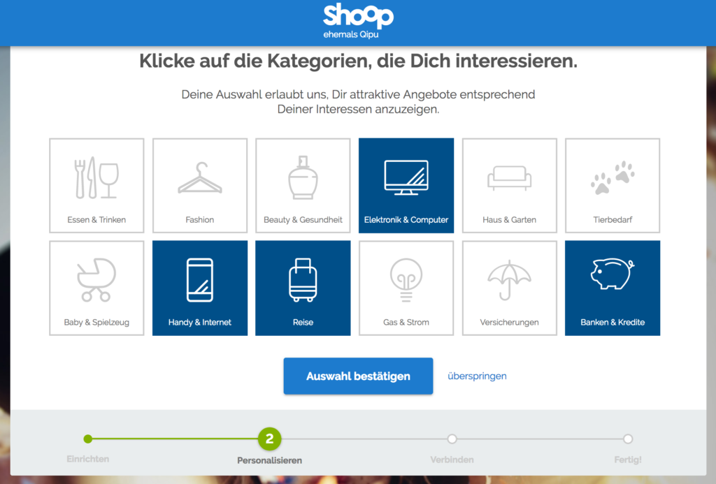 Shoop.de Konto personalisieren