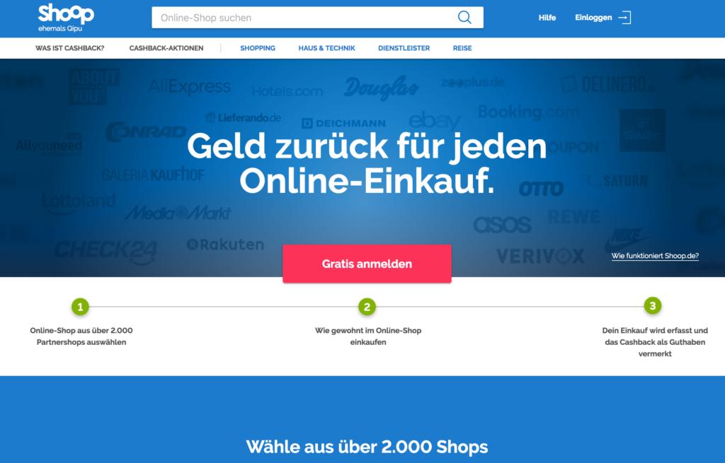 Startseite von Shoop.de